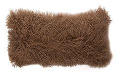 Mongolian Lamb 12x20 Pillow, Taupe on OneKingsLane.com