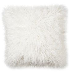 Mongolian Fur Decorative Pillow - Cream (Square)