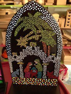 puntillismo                                                                                                                                                                                 Más Dot Art Painting, Mandala Painting, Mandala Art, Stone Painting, Christmas Rock, Christmas Crafts, Nativity Painting, Diy And Crafts, Arts And Crafts