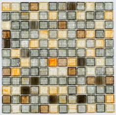 Stained Glass Mosaic Tile Olive 1x1 | Mineral Tiles