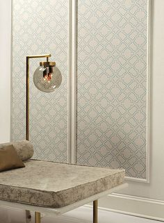 Arabesque Wallpaper in Ivory and Soft Blue by Ronald Redding for York Wallcoverings