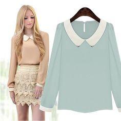 New Women Fashion Long Sleeve Doll Collar Casual Sweet Chiffon Top Shirt Blouse