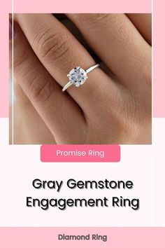 14k Solid Gold Gray Diamond Ring Sterling Silver Ring Gray Gemstone Engagement Ring Promise Ring Anniversary Gift Birthday Gift For Her Description of Ring ● Moissanite Details → Stone Shape: Round Cut → Stone Size : 1.50 CT → Stone Measurement : 7.50 mm → Stone Color: Colorless → Stone Clarity: VVS → Mohs Scale : Moissanite 9.25 → Refractive Index : 2.65 (Moissanite) ●Band Width : 1.60 MM ●Band thickness : 1.60 MM ●Ring Setting : Prong #diamondring #promisering #engagementring