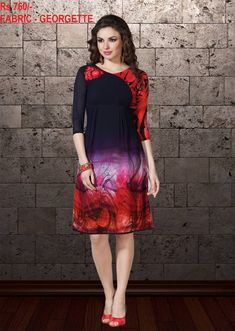 1091335f2e Beautiful Patterned Designer Readymade Kurti Is Here In Navy Blue And Red  Color Fabricated On Georgette. Rs 760/- FABRIC : GEORGETTE TO ORDER  WHATSAPP ...