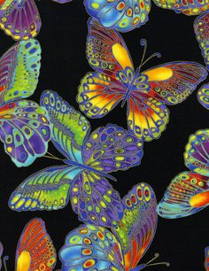 Timeless Treasures - Glimmer-CM1359-Black Large Butterflies Metallic