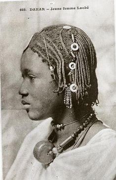 Africa | Young Laobé woman, Dakar, Senegal | Scanned vintage postcard; Collection Générale Fortier