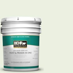 BEHR Premium Plus 5-gal. #M360-1 Glisten Green Semi-Gloss Enamel Interior Paint