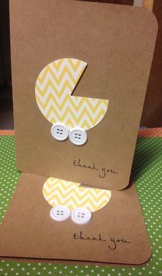Baby Cards Baby Shower thank you cards Thanks you cards Set by Baby Shower Thank You Cards, Baby Shower Gifts, Diy Cards Baby Shower, Button Cards, Homemade Cards, Baby Crafts, Kids Cards, Cute Cards, Handmade Cards