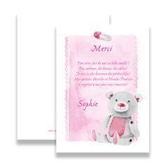 Ta photo-Remerciements carte naissance bébé Remerciements cartes Rosa monde Girl