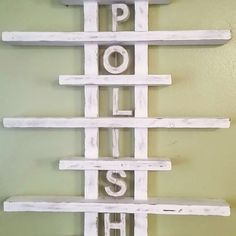 Nail polish wood shelf, perfect for polishes and supplies!