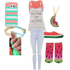 Watermelon by gummibears-2 on Polyvore featuring polyvore, moda, style, maurices, Topshop, Forever 21, Betsey Johnson, Casetify, INC International Concepts, love, watermelon, summer2015, StreetChic and summerreflection
