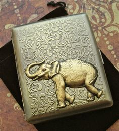 Elephant Cigarette Case Extra Big Antiqued Brass by CosmicFirefly, $55.00