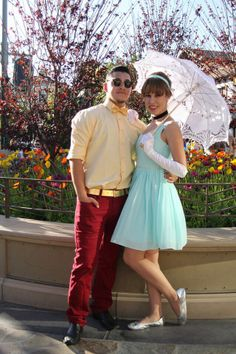 A subtle Cinderella DisneyBound + Dapper, well done you two. I want to get a group of gals for Dapper Day this year, we can dress up as Flappers or recreate something cool and vintage! Dapper Day Disneyland, Disney Dapper Day, Disneyland Outfits, Disney Bound Outfits, Disney Day, Disney Inspired Outfits, Disney Style, Disney Bound Couples, Disney College