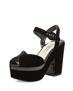 X3THH Prada Patent-Trim Velvet Platform Sandal