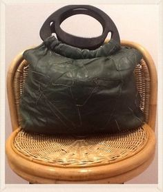 Vintage 1960s Green Patchwark Leather Slouch Bag with Plastic/Bakelite? Handle