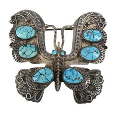 Navajo Sterling silver turquoise butterfly Pendant Brooch | From a unique collection of vintage brooches at https://www.1stdibs.com/jewelry/brooches/brooches/