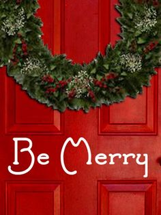 Be Merry Vinyl Decal  Christmas Sticker Decoration For Door Window | LilBitOLove - Housewares on ArtFire