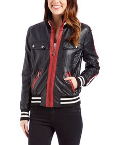 Another great find on #zulily! Urban Republic Black & Red Faux Leather Moto Jacket by Urban Republic #zulilyfinds