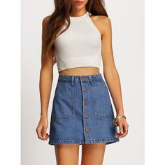Single Breasted Denim A-Line Skirt ❤ liked on Polyvore featuring skirts