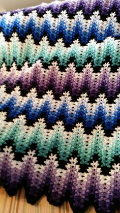 Amish Ripple aCrochet blanket made by Camille F.  Lavender, Blue, Teal.