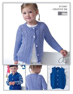 Ravelry: Cardigan and Waistcoat pattern by Jenny Watson Baby Sweater Patterns, Baby Cardigan Knitting Pattern, Knitted Baby Cardigan, Knit Patterns, Beginner Knitting Patterns, Knitting For Kids, Knitting Designs, Jenny Watson, Baby Sweaters