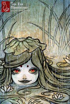 Kappa Girl, Yokai, Lake Spirit, Japanese Art, Asian Style 4x6 Fine Art Print