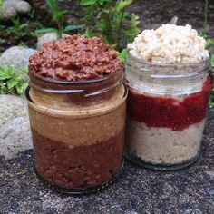 Dessert breakfast this morning was a 'peanut butter cup' jar {@therawchocolatecompany chocolate porridge layered with peanut butter} and a 'victorian sponge' jar {vanilla porridge layered with homemade strawberry chia jam} both made with @Rude Health almond milk  #Padgram