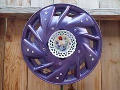 Purple w-dish of Violets & Lady Bug