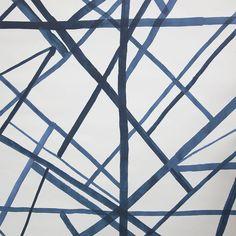 Channels wallpaper in lake/beige by Kelly Wearstler Bathroom Wallpaper Navy, Navy Wallpaper, Wallpaper Ceiling, Modern Wallpaper, Home Wallpaper, Geometric Wallpaper, Kelly Wearstler Wallpaper, Set Cover, Design Repeats
