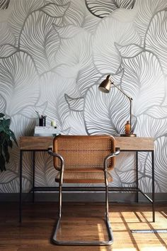 GREY Leaf Wallpaper Exotic leaves Wallpaper Large leaf Wall Mural Home Décor Easy install Wall Decal Removable Wallpaper Küchen Design, House Design, Interior Design, Grey Wallpaper, Leaves Wallpaper, Grey Removable Wallpaper, Bedroom Wallpaper, Wallpaper Ideas, Discount Bedroom Furniture