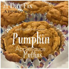 "Pumpkin Applesauce Muffins 21 Day Fix Approved. Container Counts: 1 tsp, 1/4 purple, 1 yellow, 1/4 red Check out my FIX Transformation at <a href=""http://www.getfiercefitness.com"" rel=""nofollow"" target=""_blank"">www.getfiercefitn...</a> JOIN my next Online Group and find success with me as your Coach <a class=""pintag searchlink"" data-query=""%2321dayfix"" data-type=""hashtag"" href=""/search/?q=%2321dayfix&rs=hashtag"" rel=""nofollow"" title=""#21dayfix search Pinterest"">#21dayfix</a> <a class=""pintag searchlink"" data-query=""%23fixrecipe"" data-type=""hashtag"" href=""/search/?q=%23fixrecipe&rs=hashtag"" rel=""nofollow"" title=""#fixrecipe search Pinterest"">#fixrecipe</a>"