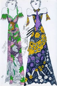 celia birtwell fashion drawings for ossie clark designs Ossie Clark, 60s And 70s Fashion, Vintage Fashion, Vintage Style, Textiles, Celia Birtwell, Fashion Art, Fashion Design, Biba Fashion