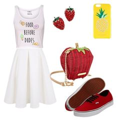 """""""Food Before Dudes!!!"""" by merimahodzic ❤ liked on Polyvore featuring Keepsake the Label, Betsey Johnson, Kate Spade and Vans"""
