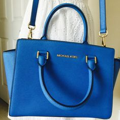Michael Kors Medium Selma   Lovely Michael Kors Medium Selma  worn once. With dust bag and tag not attached. Color: Heritage blue. Michael Kors Bags Crossbody Bags