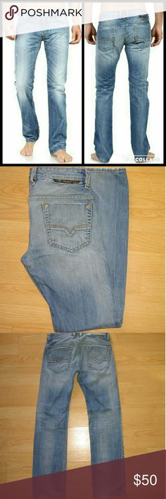 """Diesel Safado 0816P Slim Straight Leg Men's Jeans These jeans are preloved but still in very good condition. They are the Safado Button Fly Regular Slim Straight Jeans in 0816P. Features factory intended subtle distressing throughout. Made of 100% cotton. Tag size is W 28 L 30.  Waist across with natural dip is 14.5"""" Waist across when aligned is 15"""" Front Rise is 9"""" Inseam is 30"""" Diesel Jeans Slim Straight"""
