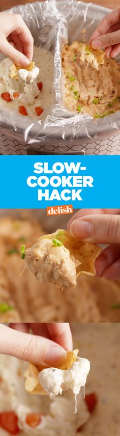 Cook two dips at once with this amazing slow cooker hack.