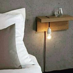Floating Shelf Ideas - My List of Lists Minimalist bedside table. … Floating Shelf Ideas - My List of Lists Minimalist bedside table. …Floating Shelf Ideas - My List of Lists Minimalist bedside table. Home Bedroom, Modern Bedroom, Bedroom Decor, Bedroom Lighting, Bedroom Night, Bedroom Ideas, Bedside Lighting, Trendy Bedroom, Bedroom Minimalist
