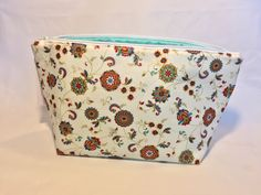 Large Makeup Mandala Floral Print, Gold Mint Blue Big Cosmetic Bag, Handmade Large Toiletry Bag, Floral Print Make Up Pouch, Monogrammable by AmyReneeNicosia on Etsy