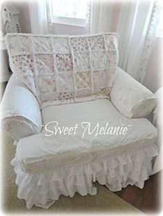 Please visit Sweet Melanie Design Thank you so much and I hope all of you are doing well. Shabby Chic Slipcovers, Custom Slipcovers, Romantic Living Room, Shabby Chic Decor Living Room, Refurbished Furniture, Repurposed Furniture, Shabby Cottage, White Cottage, Shabby Chic Style