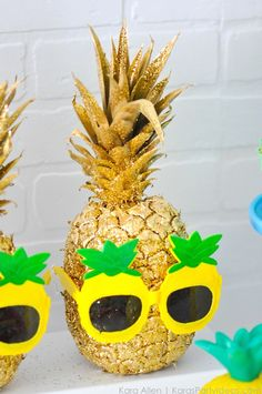 Gold + Glitter Painted Pineapple! Party Like a Pineapple birthday party via Kara Allen | Kara's Party Ideas | KarasPartyIdeas.com Pineapple party ideas, supplies, recipes, decor and more!
