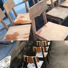before and during restoration of the chairs / stabellenstühle - sold