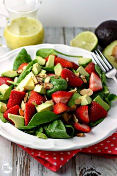 Strawberry, Avocado and Spinach Salad with Lime Poppy Seed Dressing |Renee's Kitchen Adventures - Healthy recipe makes a great meatless lunch or side dish!