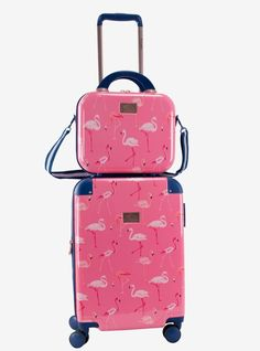 Baggage Covers Pink Flamingo Xmas Hat Candy Blue Washable Protective Case
