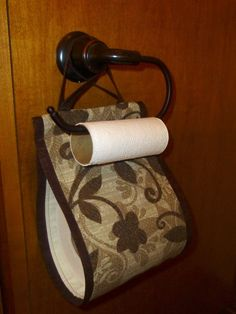 Spare Roll Tissue / Toilet Paper Holder In Fabric. Blue On Blue Or Brown And