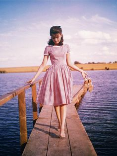 """""""((Love this dress!))""""  Once again, the glory and power of the subdued.... this is a special and sweet-tempered dress in shirtwaist style but not with the shirt style on top.  Love the gently fitted bodice , the soft cap sleeves and the full checked skirt , proper red and white!"""