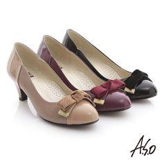 2080-粉領之戀 真皮絨面沖孔蝴蝶結中跟鞋 紫紅 -剩5.5  6  6.5  7--5.7cm