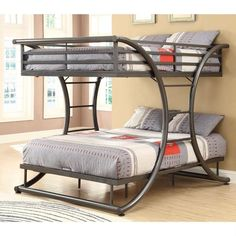 Whether you are seeking space saving features or simply a fun and attractive piece, this Full Over Full size Modern Metal Bunk Bed Frame in Gunmetal Finish will give your child's bedroom or guest room an updated look you won't easily tire of. Contemporary style. Metal curve design. Attached ladders and top-bunk guards rails. Gunmetal color. No assembly required. 82 in. L x 61 in. W x 65 in. H. Warranty. Bunk Bed Warning.Please read before purchase.. NOTE: Shop ladder DOES NOT offer assembly on l Full Size Bunk Beds, Adult Bunk Beds, Loft Bunk Beds, Modern Bunk Beds, Metal Bunk Beds, Kids Bunk Beds, Bunk Beds For Adults, Modern Bedroom, Home Decor Ideas