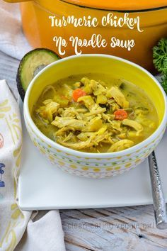 Turmeric Chicken No Noodle Soup {AIP, Paleo, Gluten-Free, Grain-Free, Nightshade-Free, Dairy-Free, Soy-Free, Nut-Free, Egg-Free, Whole 30}| cleaneatingveggie...