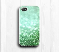 spring green glitter iPhone 4,4s case,iphone 4,4s hard case,iphone case. $7,99, via Etsy.