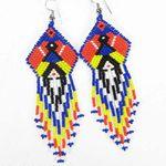 HandmadeMulticolor Seed Bead Earrings Yei Dancer big Earrings E18/5